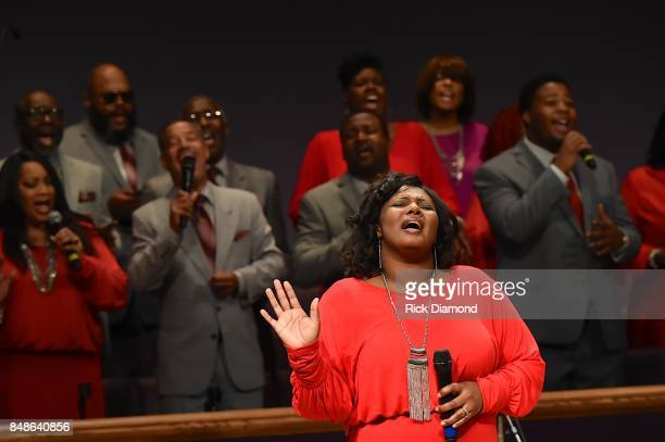Members of the Nashville Super Choir performs during an Evening with Richard Smallwood and Yolanda Adams benefiting The National Museum Of African...