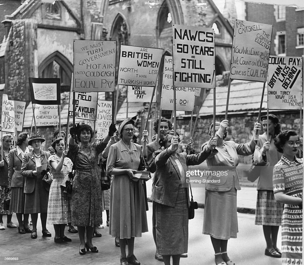 Members of the National Association of Women Civil Servants, the National Union of Women Teachers and St Joan's Alliance marching to protest against the government's refusal to grant equal pay to women in public services.