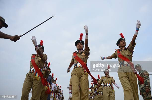 Members of the National Cadet Corps prepare for a full dress rehearsal for the Indian Republic Day parade in Secunderabad the twin city of Hyderabad...