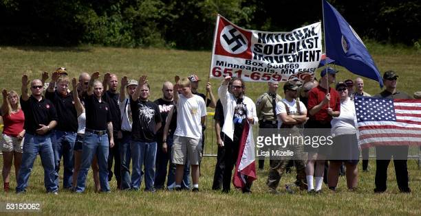 Members of the National Socialist Movement and their supporters show solidarity at a rally held at the Yorktown Battlefield June 25 2005 in Yorktown...