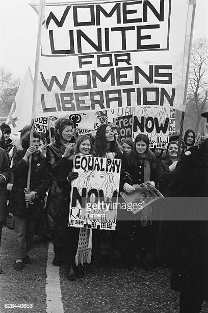 Members of the National Women's Liberation Movement on an equal rights march from Speaker's Corner to No10 Downing Street to mark International...