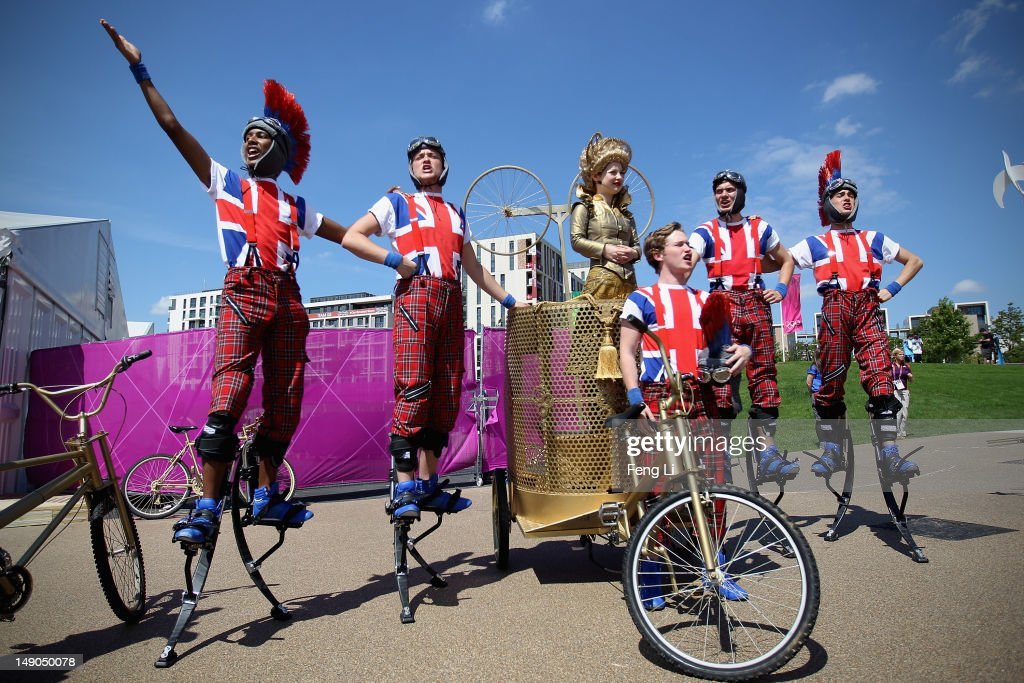 Members of the National Youth Theatre of Great Britain perform during a welcome ceremony for the India Olympic team and delegates at Olympic Village on July 22, 2012 in London, England.