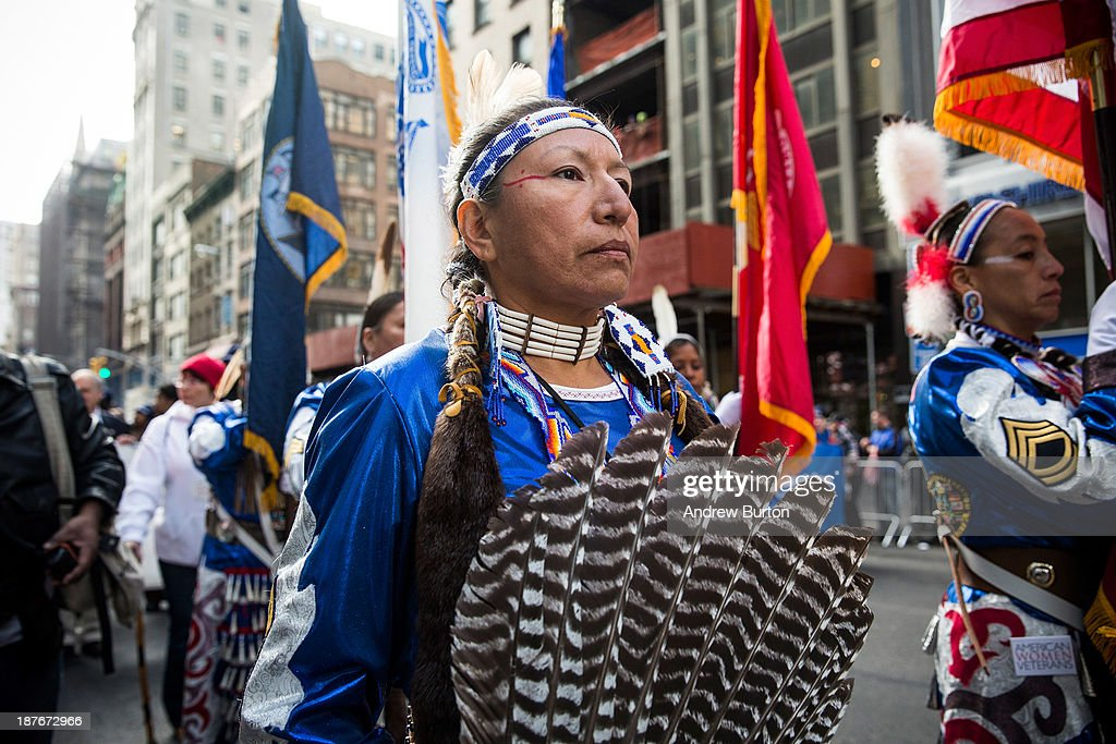 Members of the Native American Women Warriors group march in the Veteran's Day Parade on November 11, 2013 in New York City. The parade included members of all four branches of service, as well as members of the Fire Department of New York (FDNY), New York Police Department (NYPD) and veterans from all major conflicts that the United States has been involved with since World War Two.