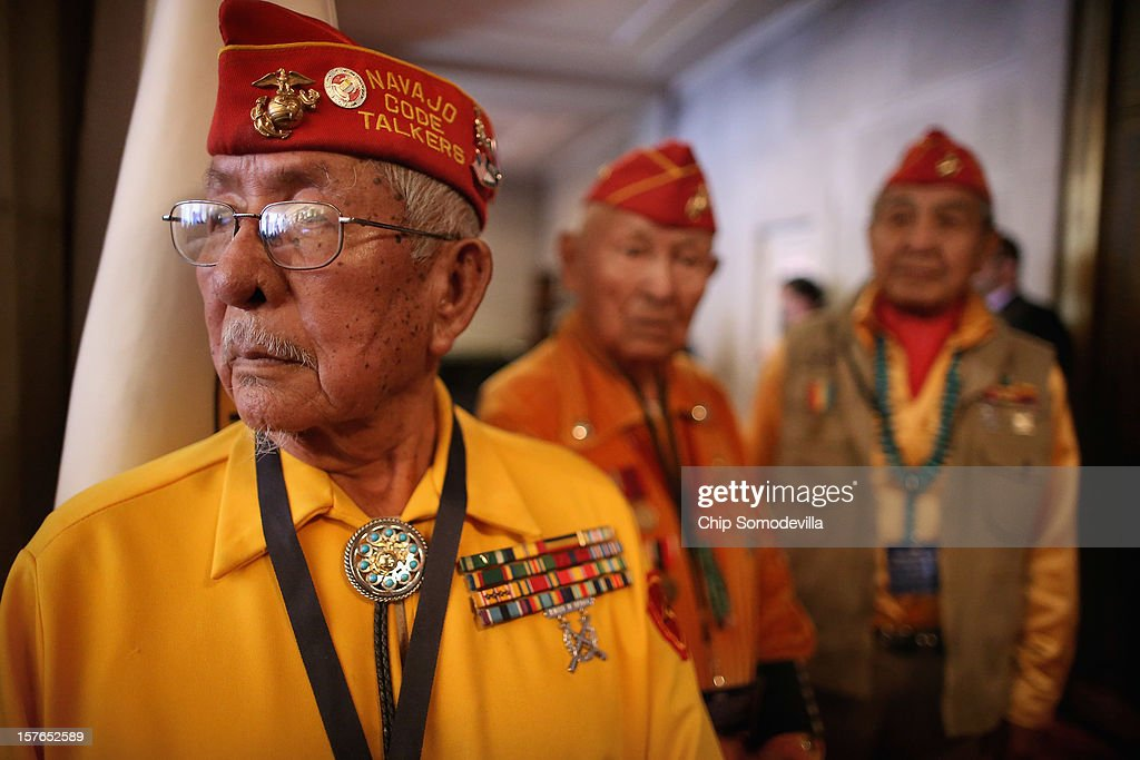 Members of the Navajo Code Talkers Association (L-R) Bill Toledo, George James Jr. and Peter MacDonald Sr. attend the White House Tribal Nations Conference at the Department of Interior December 5, 2012 in Washington, DC. President Barack Obama and cabinet secretaries from his administration are scheduled to address the conference, which included breakout sessions on topics like 'Protecting Our Communities: Law Enforcement and Disaster Relief,' 'Building Healthy Communities, Excellence in Education and Native American Youth,' and other subjects.
