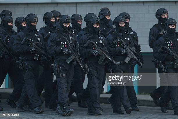 Members of the new BFEplus antiterror unit of the German federal police holding G36C automatic weapons take part in a capabilities demonstration at a...
