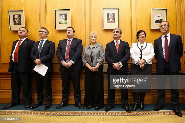 Members of the new Labour shadow cabinet from left Shane Jones David Parker Grant Robertson Annette King Clayton Cosgrove Sue Moroney and Andrew...
