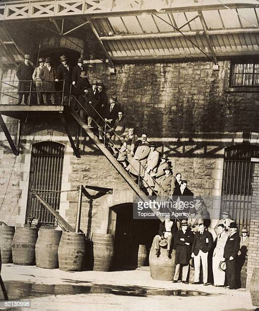 Members of the New South Wales Rugby team the Waratahs on the steps at the John Jameson distillery during a visit to Dublin 11th November 1927