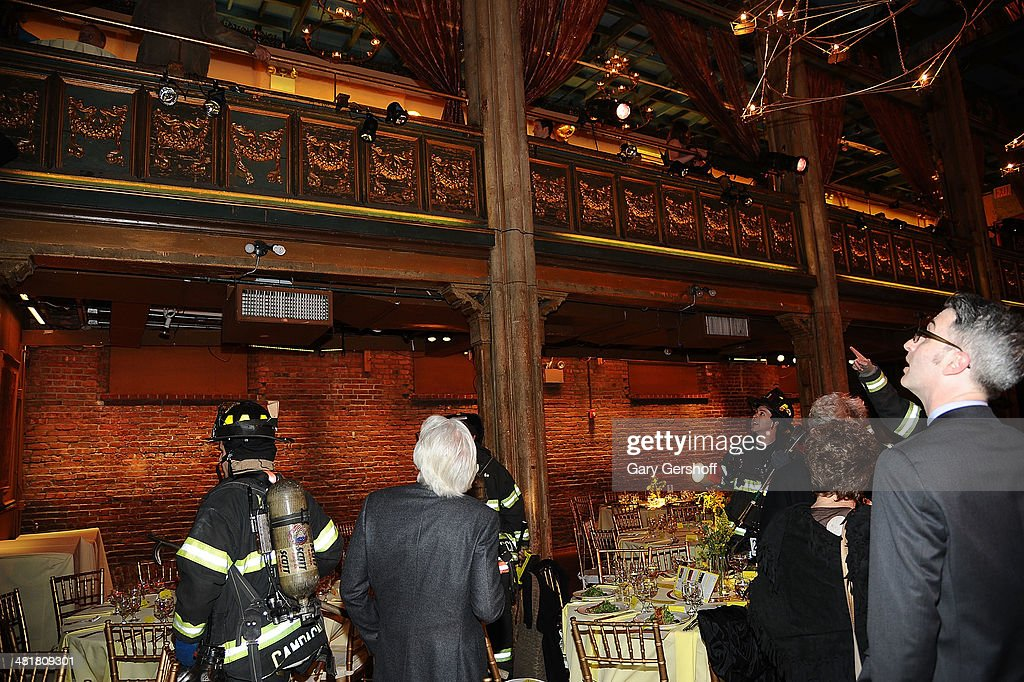 Members of the New York City Fire Department are seen inside Soho Rep's 2014 Spring Fete at the Angel Orensanz Center after some structural issues were discovered in the building on March 31, 2014 in New York City.
