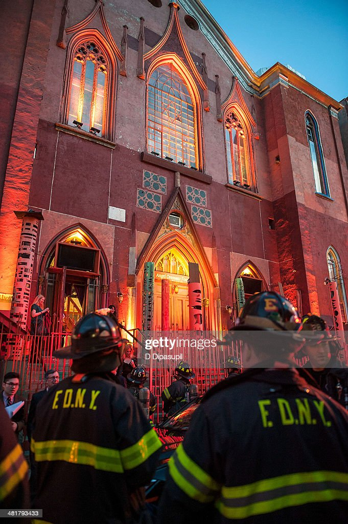 Members of the New York City Fire Department are seen outside of Soho Rep's 2014 Spring Fete at the Angel Orensanz Center on March 31, 2014 in New York City. Approximately 300 people had to be evacuated from the Angel Orensanz Center after several columns were discovered to have cracks, however there were no injuries reported and the benefit continued outdoors.