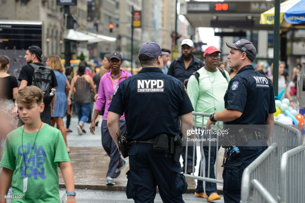 Members of the New York City Police Counterterrorism force stand guard outside Penn Station on August 18, 2017 in New York City. The NYPD has increased security around New York City after the terror attacks in Spain.