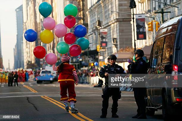 Members of the New York City Police special task force stand guard before the annual Thanksgiving Day Parade on November 26 2015 in New York City A...