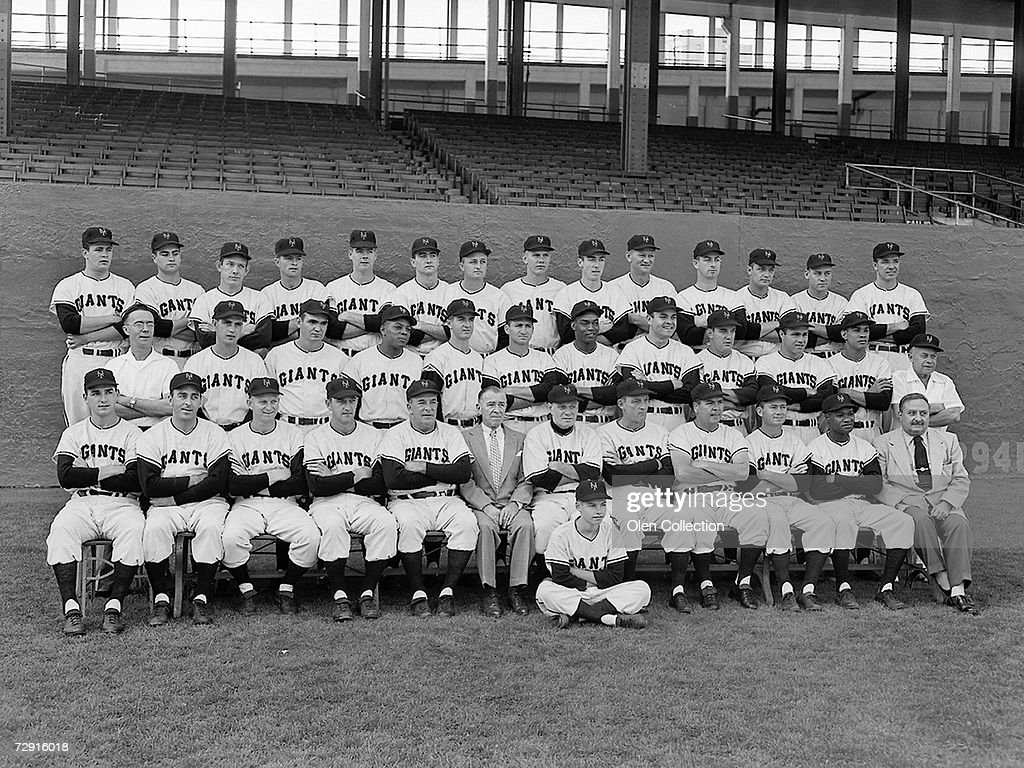 Members of the New York Giants pose for a team portrait on September 23, 1954 at the Polo Grounds in New York, New York. (L to R) (front row) Johnny Antonelli, Sal Maglie, Whitey Lockman, Larry Jansen, coach Fred Fitzsimmons, secretary Ed Brannick, manager Leo Durocher, coach Frank Shellenback, coach Herman Franks, Davey Williams, Hank Thompson, tean physician Dr. Anthony Palermo; (second row) clubhous custodian Ed Logan, Hoyt Wilhelm, Dusty Rhodes, Willie Mays, Don Mueller, Alvin Dark, Monte Irvin, Bill Taylor, Bobby Hofman, Joe Garagiola, Ruben Gomez, trainer Frank Bowman; Paul Giel, Joe Amalfitano, Don Liddle, Billy Gardner, Al Worthington, Foster Castleman, John 'Windy' McCall, Alex Konikowski, Al Corwin, Marv Grissom, Ray Katt, George Spencer, Wes Westrum, Jim Hearn.
