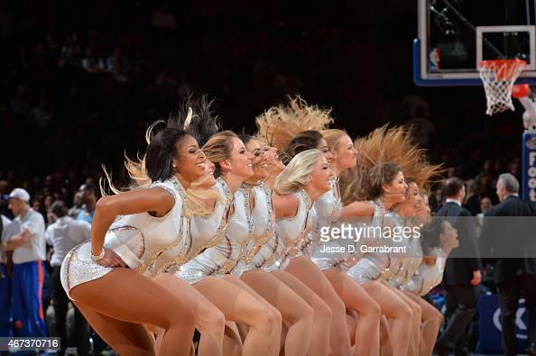 Members of the New York Knicks Dance Team perform for the crowd against the Memphis Grizzlies at Madison Square Garden on March 23 2015 in New York...