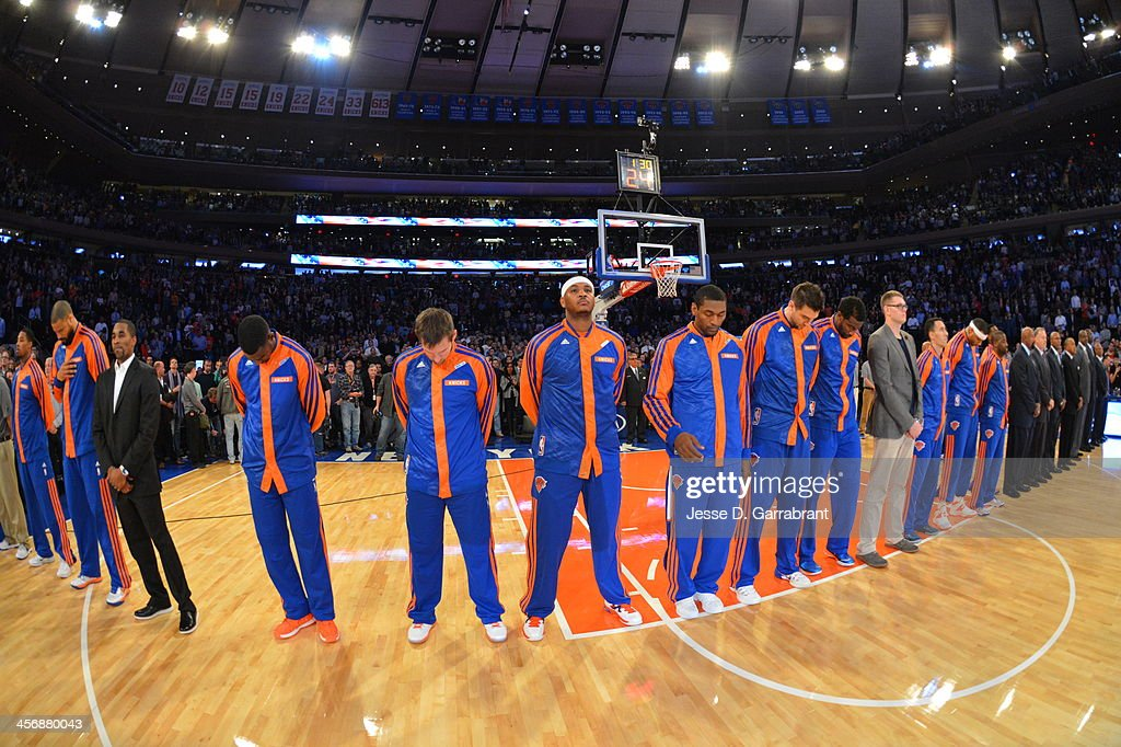 Members of the New York Knicks look on against the Charlotte Bobcats during the game on November 5, 2013 at Madison Square Garden in New York City, New York.