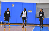Members of the New York Liberty practice at the New York Knicks training facility prior to their playoff game on September 17 2015 in Tarrytown New...