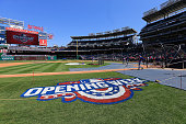 Members of the New York Mets take batting practice beofe the start of their Opening Day game against the Washington Nationals at Nationals Park on...