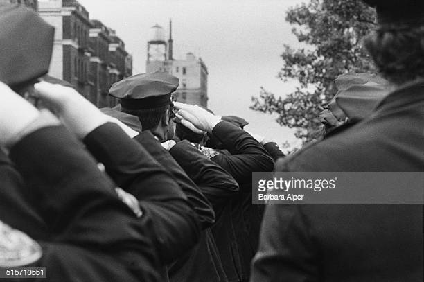 Members of the New York Police Department attend the funeral of colleague Irma Lozada New York City 1984