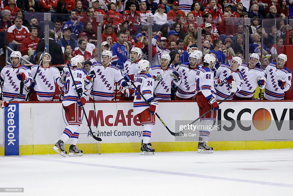 Members of the New York Rangers celebrate a second period goal against the Washington Capitals during the Rangers 4-1 win at Verizon Center on March 10, 2013 in Washington, DC.