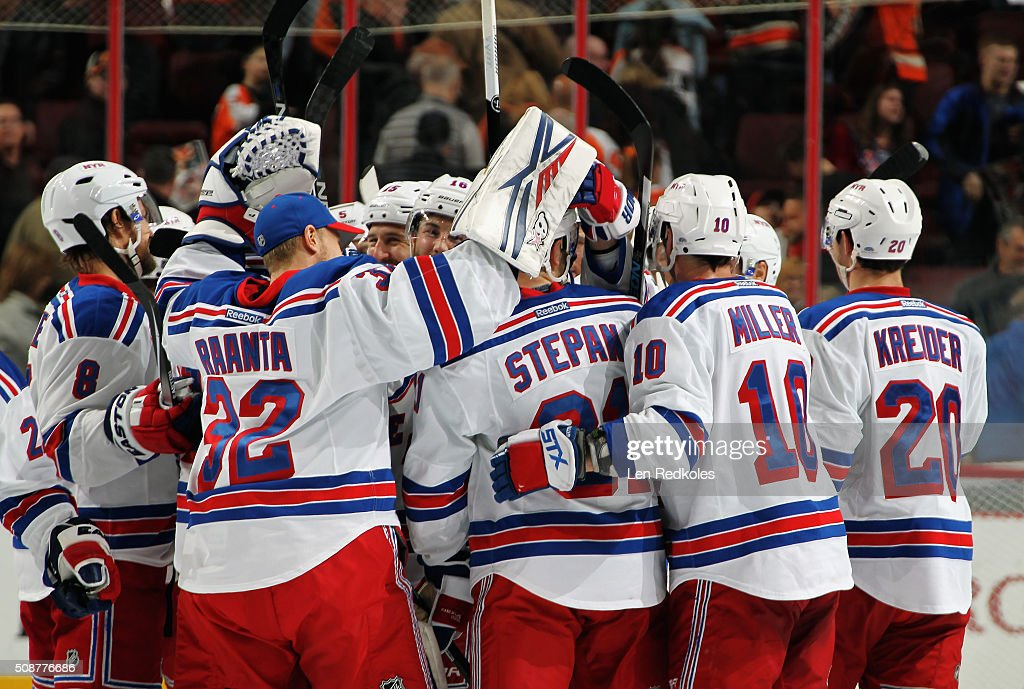 Members of the New York Rangers celebrate after defeating the Philadelphia Flyers 3-2 in a shootout on February 6, 2016 at the Wells Fargo Center in Philadelphia, Pennsylvania.