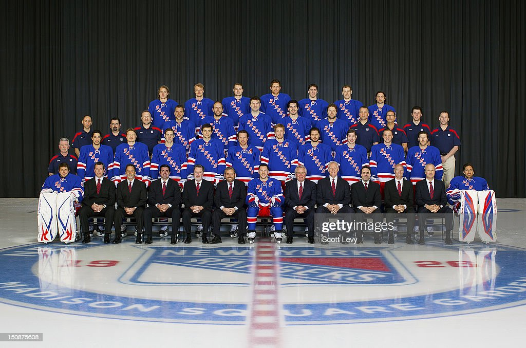Members of the New York Rangers pose for the official 2011-2012 team photograph at the Madison Square Garden Training Center in Tarrytown, NY on April 6, 2012.
