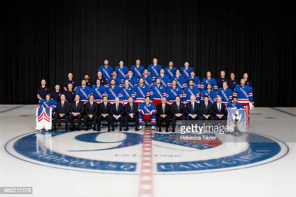 Members of the New York Rangers pose for the official 20162017 team photograph on March 16 2017 at the MSG Training Center in Tarrytown New York