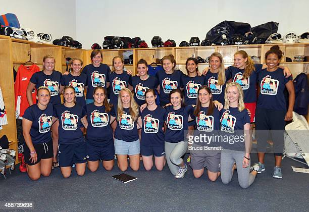 Members of the New York Riveters of the National Womens Hockey League pose for a group photo at Aviator Sports Events Center on September 16 2015 in...