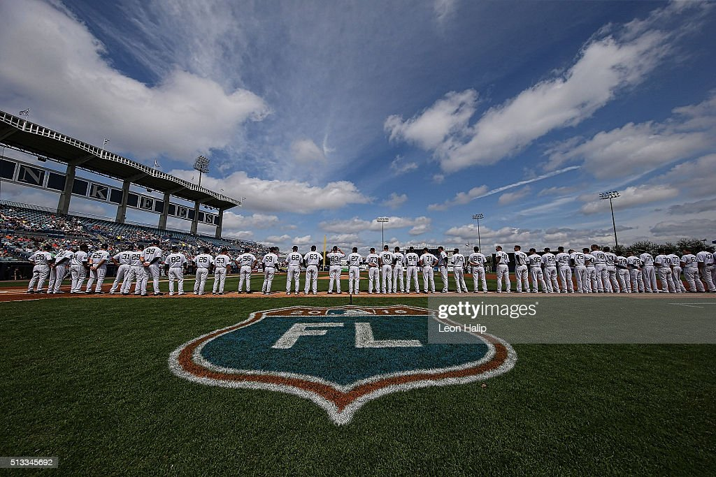 Members of the New York Yankees line up prior to the start of the Spring Training game against the Detroit Tigers on March 2 2016 during the Spring...