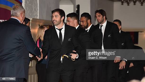 Members of the New Zealand All Blacks collect Caps during their Rugby World Cup 2015 Welcome Ceremony at The Tower of London on September 11 2015 in...