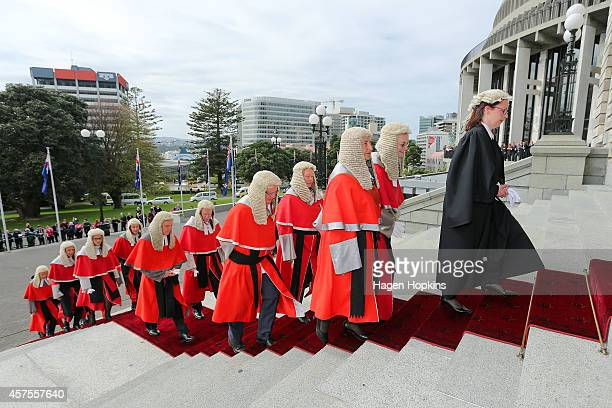 Members of the New Zealand High Court Judiciary are led up the steps during the 51st Parliament's State Opening Ceremony at Parliament on October 21...