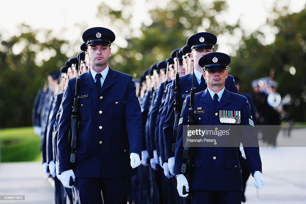 Members of the New Zealand Police Force arrive for the welcome ceremony for French Prime Minister Manuel Valls at the Auckland museum on May 2, 2016 in Auckland, New Zealand. It is the first time in 25 years that a French Prime Minister has visited New Zealand.