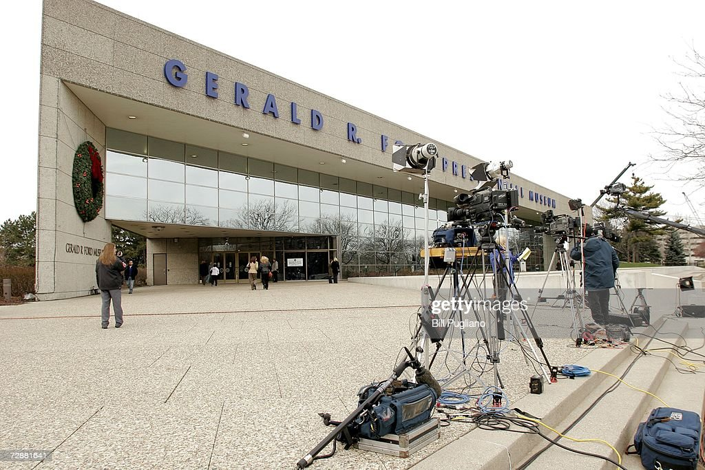 Members of the news media set up in front of the Gerald R Ford Museum December 27 2006 in Grand Rapids Michigan The former President passed away...