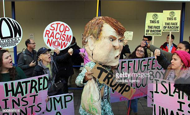 Members of the NGO named 'codepink' and members of the public from varied religions and beliefs stage a protest against hate speech of US Republican...