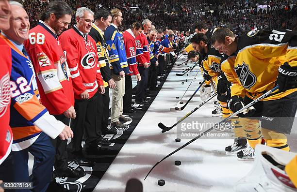 Members of the NHL 100 drop the puck for the 2017 Honda NHL AllStars during preggame ceremonies prior to the 2017 Honda NHL AllStar Game at Staples...