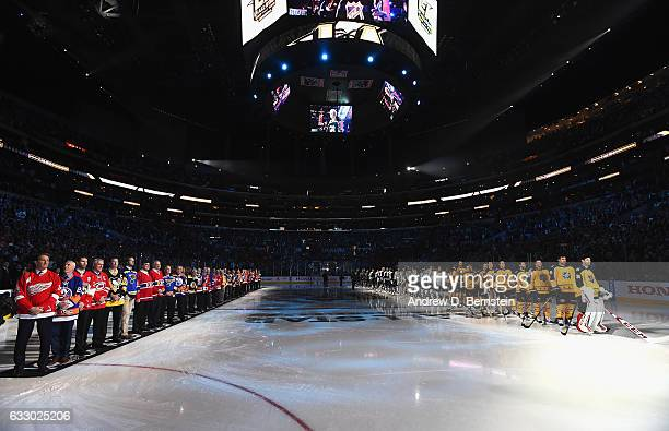 Members of the NHL 100 left line up on the ice with 2017 Honda NHL AllStars right during preggame ceremonies prior to the 2017 Honda NHL AllStar Game...