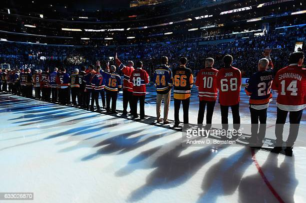 Members of the NHL 100 line up on the ice prior to the 2017 Honda NHL AllStar Game at Staples Center on January 29 2017 in Los Angeles California