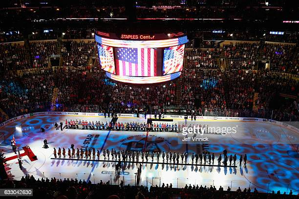 Members of the NHL 100 line up on the ice with 2017 Honda NHL AllStars during preggame ceremonies prior to the 2017 Honda NHL AllStar Game at Staples...