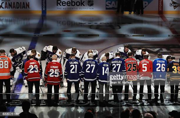 Members of the NHL 100 participate in a ceremonial puck drop prior to the 2017 Honda NHL AllStar Game at Staples Center on January 29 2017 in Los...