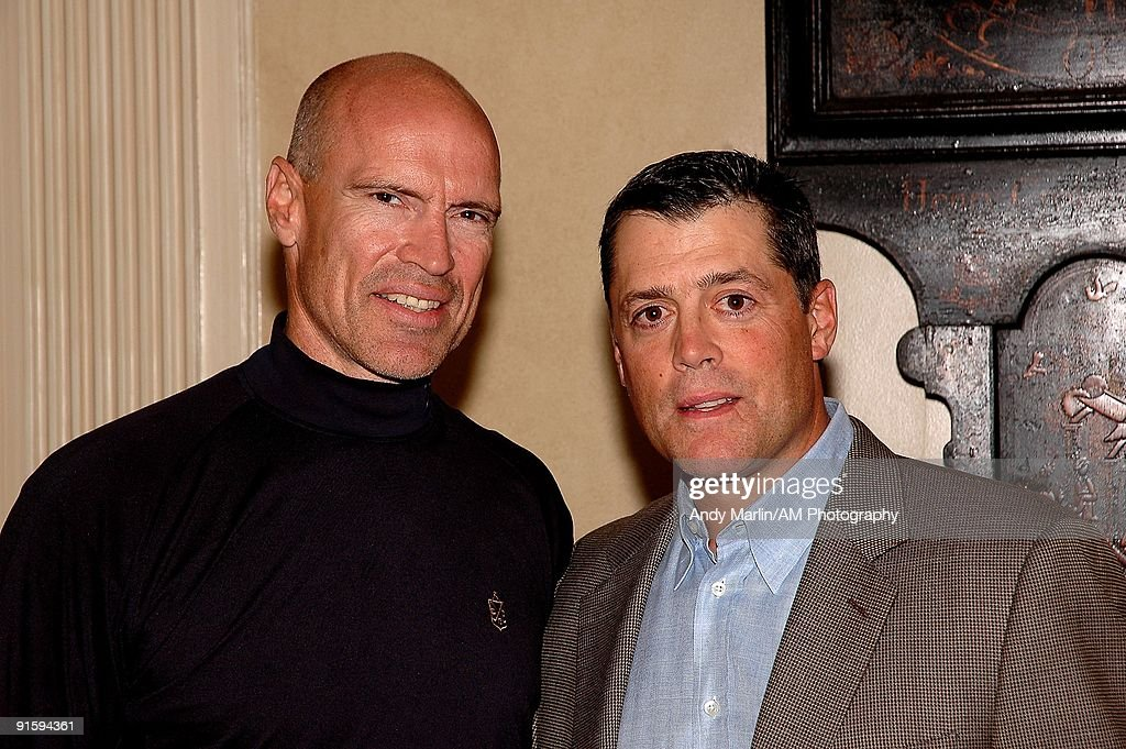 Members of the NHL Hall of Fame Mark Messier and Pat LaFontaine pose for a photo at the 7th Annual Companions in Courage Foundation Golf Classic at Deepdale Golf Club on October 5, 2009 in Manhasset, New York.