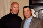 Members of the NHL Hall of Fame Mark Messier and Pat LaFontaine pose for a photo at the 7th Annual Companions in Courage Foundation Golf Classic at...