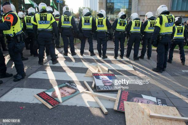 Members of the Nordic Resistance Movement clash with Police after failing to complete their march through central Gothenburg Sweden on September 30...