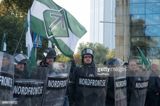 Members of the Nordic Resistance Movement rally in a frozen zone after Gothenburg police blocked their planned march through the central parts of the...