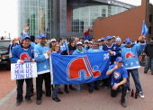Members of the 'Nordiques Nation' converge on Prudential Center prior to the game between the New Jersey Devils and the Boston Bruins on April 10...
