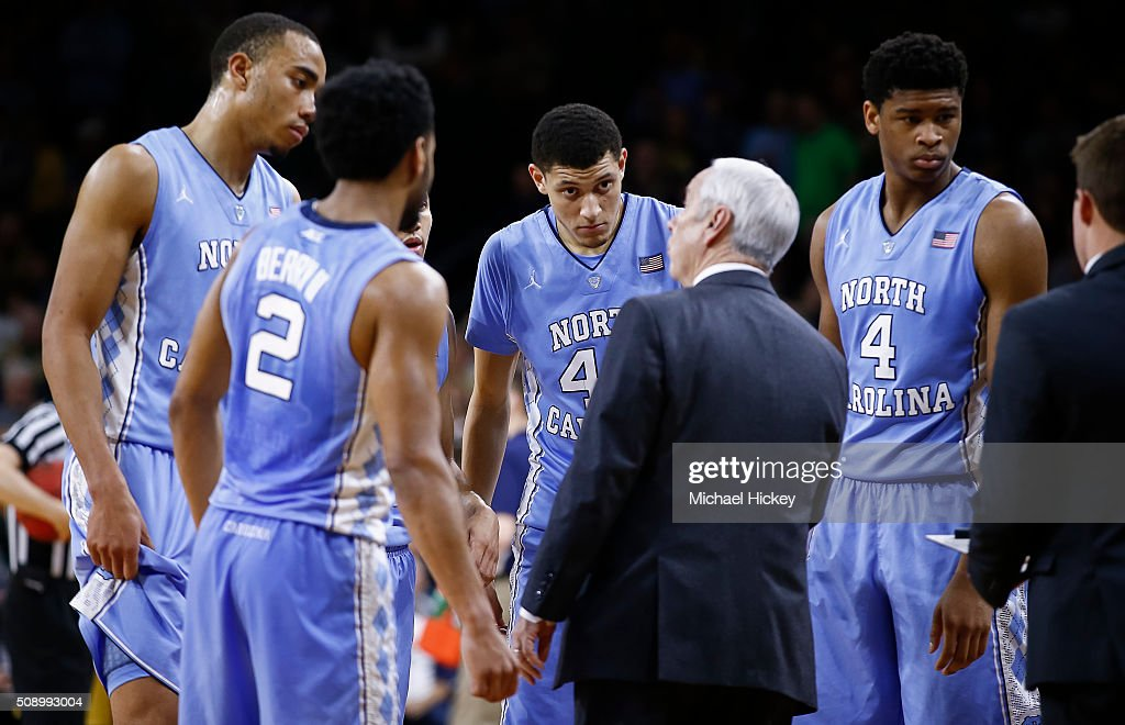 Members of the North Carolina Tar Heels listen to Head coach <a gi-track='captionPersonalityLinkClicked' href=/galleries/search?phrase=Roy+Williams+-+Coach&family=editorial&specificpeople=5086044 ng-click='$event.stopPropagation()'>Roy Williams</a> of the North Carolina Tar Heels during the game against the Notre Dame Fighting Irish at Purcell Pavilion on February 6, 2016 in South Bend, Indiana. Notre Dame defeated North Carolina 80-76.