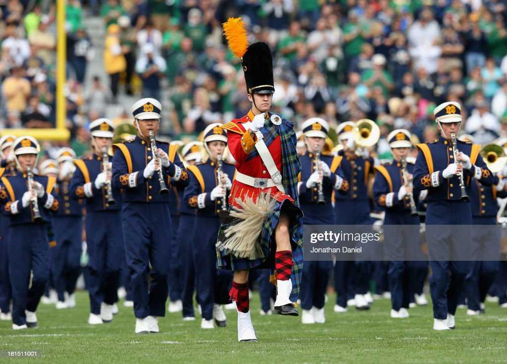 Members of the Notre Dame Fighting Irish band perform a pre-game show before the start of a game against the Michigan State Spartans at Notre Dame Stadium on September 21, 2013 in South Bend, Indiana.