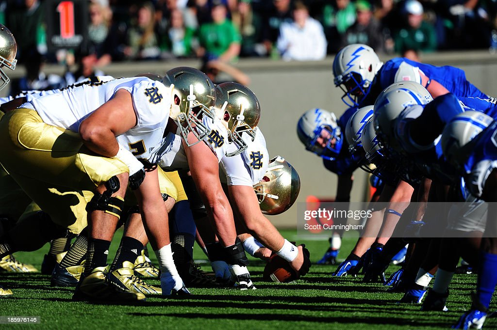 Members of the Notre Dame Fighting Irish line up for a kick against the Air Force Falcons at Falcon Stadium on October 26, 2013 in Colorado Springs, Colorado.