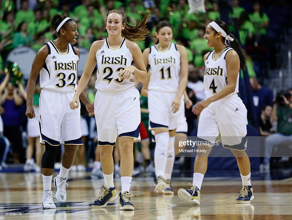 Members of the Notre Dame Fighting Irish walk up court during the game against the Louisville Cardinals at Purcel Pavilion on February 11, 2013 in South Bend, Indiana. Notre Dame defeated Louisville 93-64.