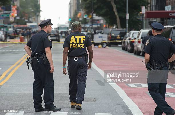 Members of the NYPD FBI ATF and other agencies invesitgate the the scene following a late night explosion on West 23rd Street September 2016 in New...
