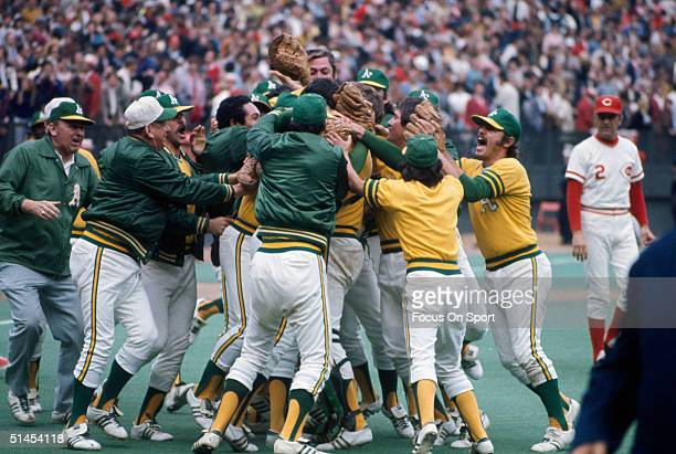 Members of the Oakland Athletics celebrate after winning Game 7 of the 1972 World Series against the Cincinnati Reds on October 22 1972 at Riverfront...