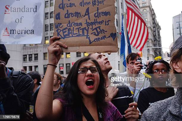 Members of the Occupy Wall Street community protest outside of the Manhattan District Attorney's office to demand the release of their fellow...