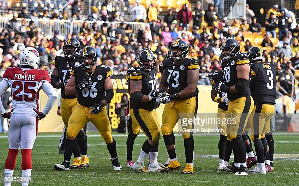 Members of the offensive line of the Pittsburgh Steelers including tackle Marcus Gilbert guard David DeCastro center Cody Wallace guard Ramon Foster...